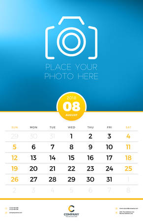 Wall Calendar Template for 2018 Year. August. Vector Design Template with Place for Photo. Week starts on Sunday
