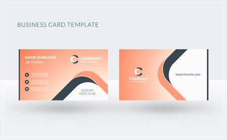 surname: Double-sided creative business card template. Vector illustration. Stationery design Illustration