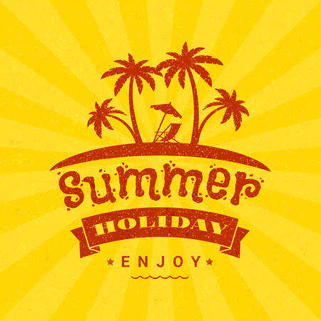 Summer holidays poster. Typography retro style badge. Vector illustration on textured background