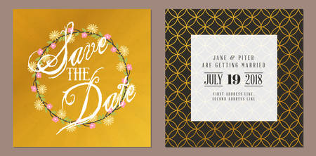 event planning: Save the date. Wedding invitation double-sided card design template. Stationery design. Vector illustration