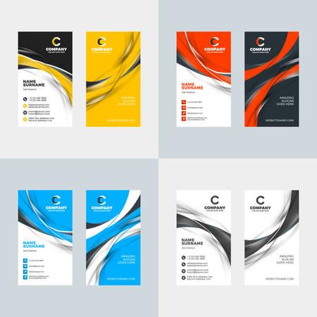 Set of 4 color variations vertical business card vector template, flat style vector illustration, stationery print design Illustration