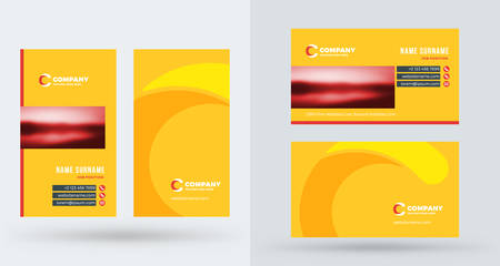 Double-sided creative business card template. Portrait and landscape orientation. Horizontal and vertical layout.