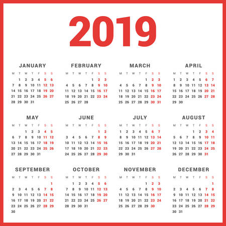 calendar for 2019 year on white background week starts monday simple vector template