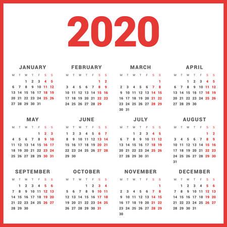 흰색 배경에 2020 년 달력입니다. 주 월요일이 시작됩니다. 간단한 벡터 템플릿입니다. 편지지 디자인 템플릿 일러스트