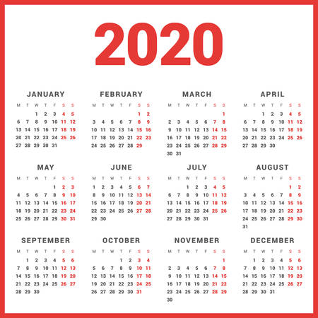Calendar for 2020 Year on White Background. Week Starts Monday. Simple Vector Template. Stationery Design Template Vettoriali