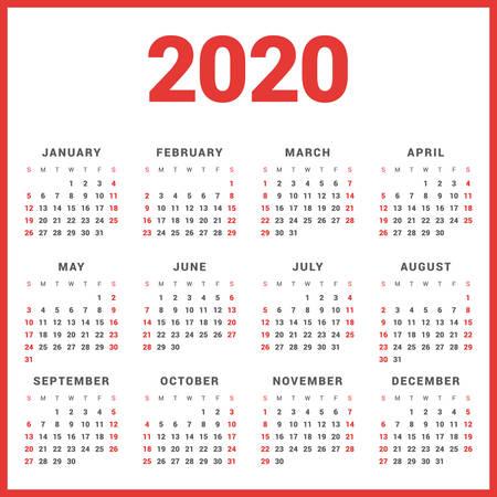 Kalender für 2020 Jahr auf weißem Hintergrund. Woche startet Sonntag. Einfache Vektor-Vorlage. Schreibwaren-Entwurfs-Schablone Vektorgrafik