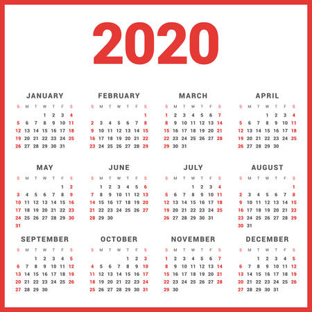 Calendar for 2020 Year on White Background. Week Starts Sunday. Simple Vector Template. Stationery Design Template