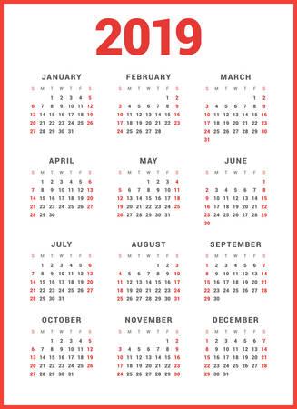 白い背景の 2019 年のカレンダーです。週は日曜日から開始します。単純なベクトル テンプレート。文房具のデザイン テンプレート  イラスト・ベクター素材