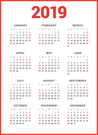 Calendar for 2019 Year on White Background. Week Starts Sunday. Simple Vector Template. Stationery Design Template