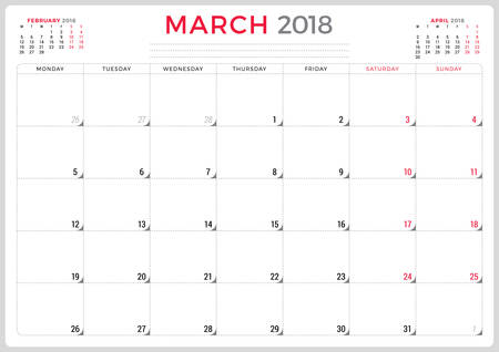 event planning: March 2018. Calendar planner design template. Week starts on Monday. Stationery design Illustration