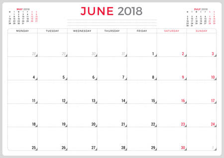 event planning: June 2018. Calendar planner design template. Week starts on Monday. Stationery design