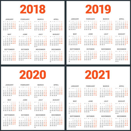 Set of calendars for 2018, 2019, 2020, 2021 years. Week Starts Monday. Simple Vector Template. Stationery Design Template