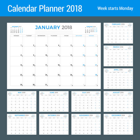 event planning: Calendar planner for 2018 year. Vector design template. Week starts on Monday. Stationery design. Set of 12 months