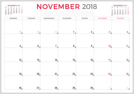 79964603 november 2018 calendar planner design template week starts on monday stationery design