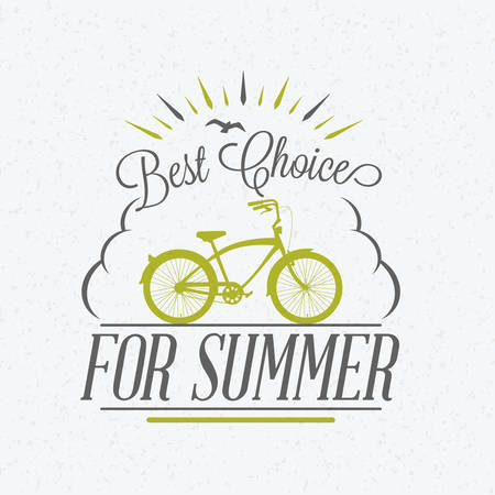 Bycicle rental summer badge. Typographic retro style label with textured background. Rental agency concept, travel illustration