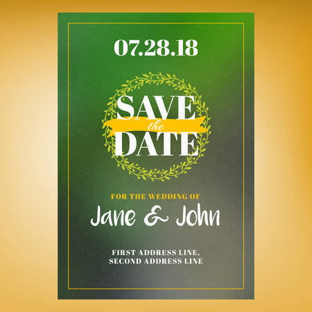 event planning: Save the date. Wedding invitation card design template with colorful blurred background. Place for photo. Stationery design. Vector illustration