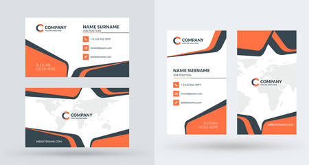 Double sided creative business card template portrait and landscape double sided creative business card template portrait and landscape orientation horizontal and vertical cheaphphosting Images