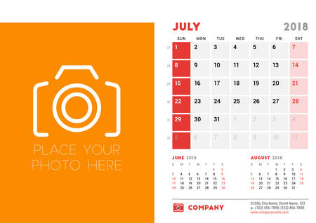 July 2018. Desk Calendar Design Template with Place for Photo. Week starts on Sunday. Vector Illustration