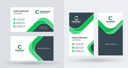 創造的なビジネス カードの両面のテンプレートです。横向きと縦向き。水平および垂直のレイアウトします。ベクトル図