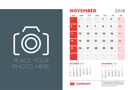 next day: November 2018. Desk Calendar Design Template with Place for Photo. Week starts on Sunday. Vector Illustration Illustration