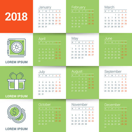 Calendar for 2018 year. Vector design template. Week starts on Monday. Flat style color vector illustration with business icons Illustration