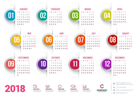 Calendar for 2018 year. Vector design stationery template. Week starts on Sunday. Flat style color vector illustration. Yearly calendar template Illustration