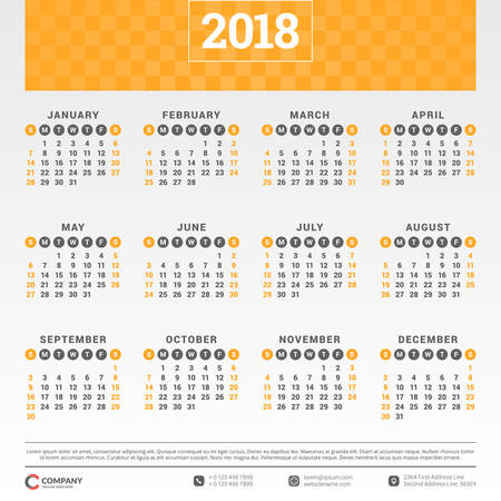 Calendar for 2018 year. Vector design template. Week starts on Sunday. Vector illustration