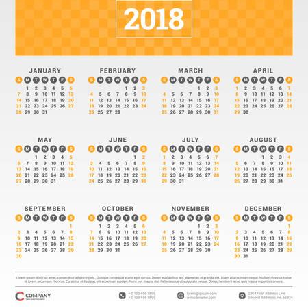 Calendario para el año 2018. Plantilla de diseño vectorial. La semana comienza el domingo. Ilustración del vector Ilustración de vector