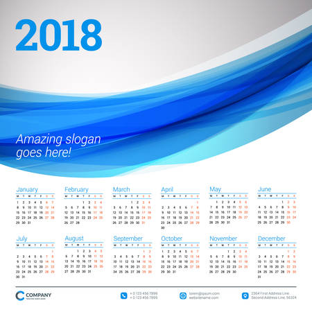 Calendar for 2018 year. Vector design template. Week starts on Monday. Vector illustration with blue wave abstract background Illustration