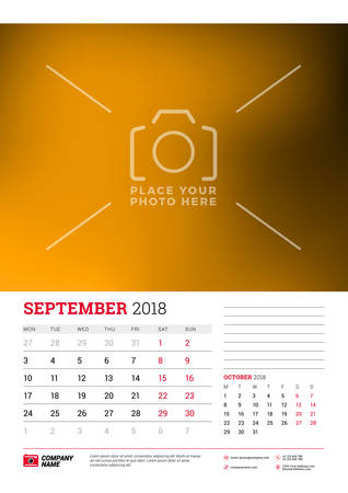 Wall calendar planner template for 2018 year. September, October. Vector design print template with place for picture. Week starts on Monday