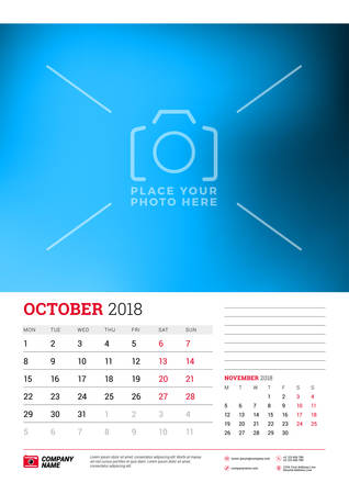 Wall calendar planner template for 2018 year. October, November. Vector design print template with place for picture. Week starts on Monday Illustration