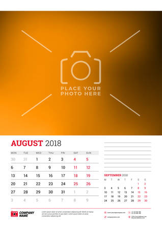 Wall calendar planner template for 2018 year. August, September. Vector design print template with place for photo. Week starts on Monday