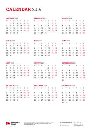 vector vector calendar poster a3 size for 2019 year week starts on monday stationery design template