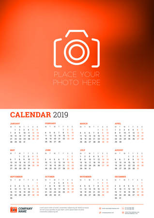 Vector calendar poster A3 size for 2019 Year. Week starts on Monday. Stationery design template with place for picture