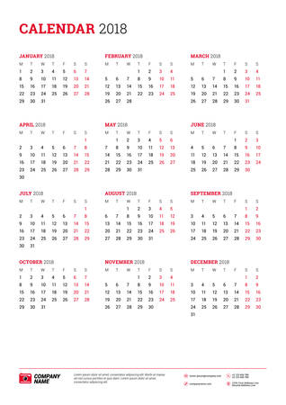 Vector calendar poster A3 size for 2018 Year. Week starts on Monday. Stationery design template