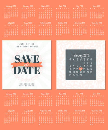 601 double date stock illustrations cliparts and royalty free wedding invitation double sided card design template calendar for 2018 stopboris Choice Image