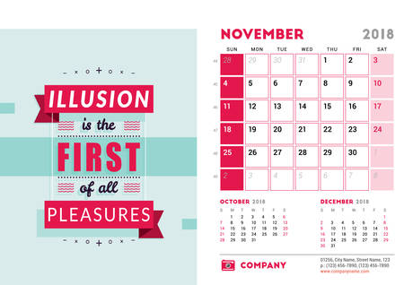 Desk Calendar Template for 2018 Year. November. Design Template with Motivational Quote. 3 Months on Page. Week starts Sunday. Vector Illustration