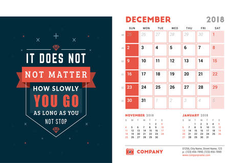 Desk Calendar Template for 2018 Year. December. Design Template with Motivational Quote. 3 Months on Page. Week starts Sunday. Vector Illustration