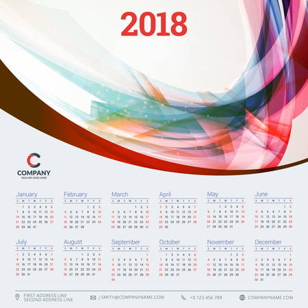 Calendar for 2018 year. Vector design template. Week starts on Sunday. Vector illustration with wave abstract background