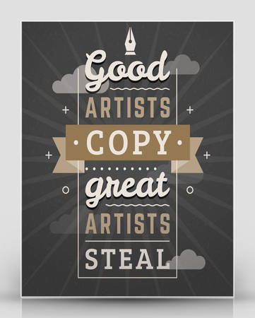 brown: Vintage inspirational and motivational quote typographic poster. Black and brown colors with textured background. Vector quote poster mockup template Illustration
