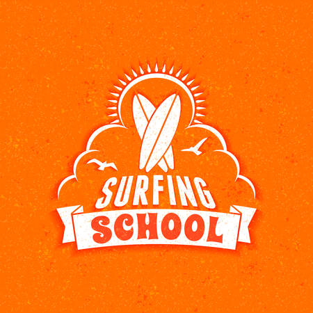 Surfing school and rental summer badge. Typographic retro style label with textured background. Rental or travel agency concept. Vector illustration Illustration