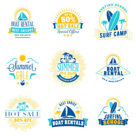 Set of summer sale promotional emblem design. Typographic retro style summer advertising badges for banner or poster. Blue and yellow color theme. Isolated on white.