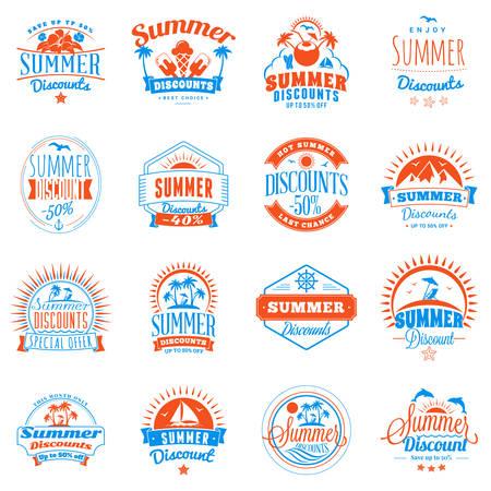 Set of summer discount promotional emblem design.