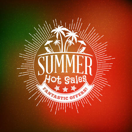 夏のセールのバナーです。テクスチャの抽象的な背景とタイポグラフィのレトロなスタイルの夏のポスター。夏の割引および特別提供。