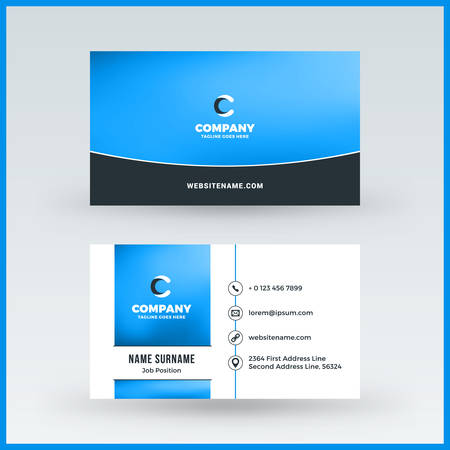 double sided horizontal business card template vector mockup illustration stationery design stock vector