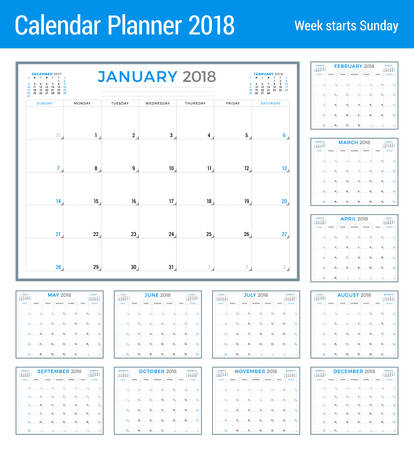 table sizes: Calendar planner for 2018 year. Vector design template. Week starts on Sunday. Stationery design. Set of 12 months