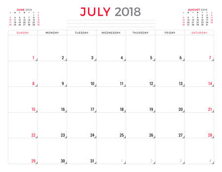 table sizes: July 2018. Calendar planner design template. Week starts on Sunday. Stationery design Illustration