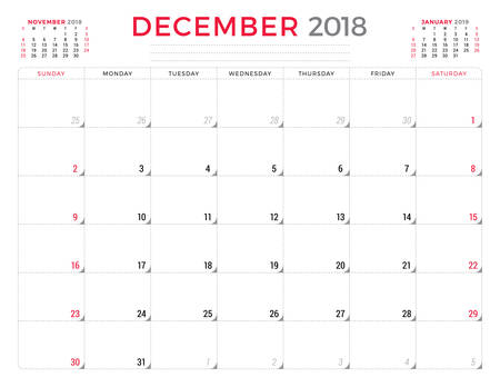 table sizes: December 2018. Calendar planner design template. Week starts on Sunday. Stationery design