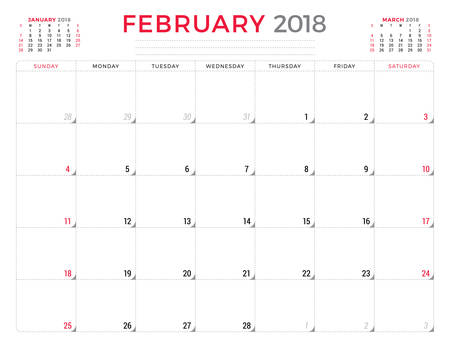 table sizes: February 2018. Calendar planner design template. Week starts on Sunday. Stationery design. Illustration