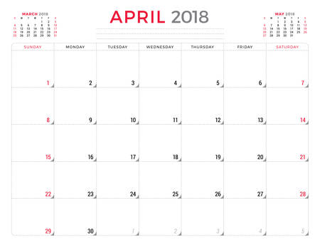 table sizes: April 2018. Calendar planner design template. Week starts on Sunday. Stationery design Illustration